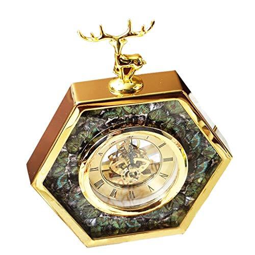 JCOCO Européenne Moderne Horloge de Table Cerf Pur Cuivre Design Créatif Paon Plume Dial Mute Non-tique Quartz Bureau Horloge, Utilisé Pour Salon Chambre Bureau Décoration
