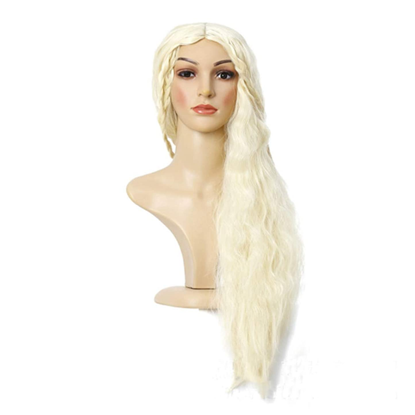 窒素延期する一貫性のないJIANFU ファッション コスプレ ロング カーリーヘア 耐熱 ウィッグ コスチューム パーティー ウィッグ(金髪) (Color : Blonde)