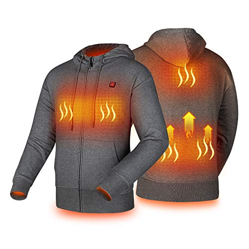 Heated Hoodie with USB 5V 10000mAh Battery Pack Power Bank Men and Women (Unisex) Washable Zip...