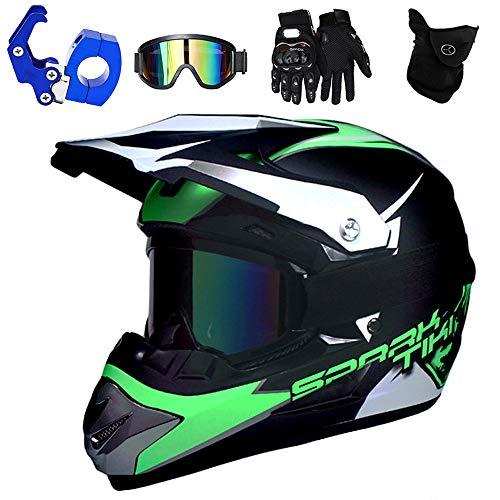 PKFG® Motocross Helm mit Brille, Motorrad Downhill Helm Kinder Grün mit Helmhaken und Handschuhe, Mountainbike Enduro Helm für Mädchen/Damen Kopf und Hals Sicherheit Schutz, S (52~53CM)