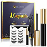 Magnetic Eyelashes with Eyeliner Kit 5 Pairs Reusable Magnetic Eyelashes,Upgraded 3D Magnetic Eyelashes Kit with Tweezers…