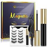 Magnetic Eyelashes with Eyeliner Kit 5 Pairs Reusable Magnetic Eyelashes,Upgraded 3D Magnetic Eyelashes Kit with Tweezers