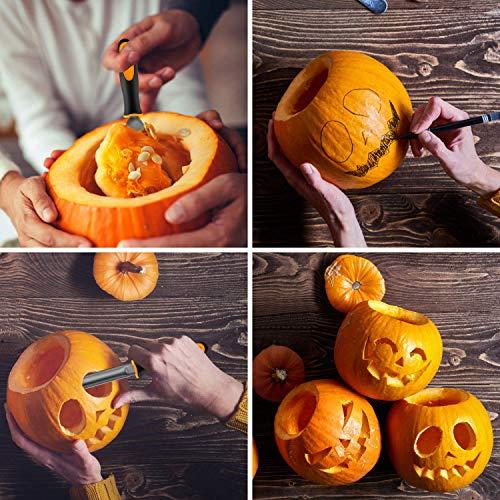 Kit Intaglio Zucca Halloween,Kit di 11 strumenti per carving ad alte prestazioni in acciaio inox per Halloween con borsa per il trasporto,facile intagliamento di decorazioni a zucca di Halloween