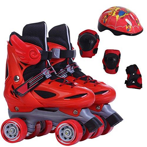 Sunkini Kinder Rollschuhe Doppel Linie 4 Rad Skating Schuhe Einstellbare Größe Schieben Kind Geschenke Slalom Inline Skates Kinder Jungen Mädchen Blau/Rosa/Rot (Color : Red, Größe : M)