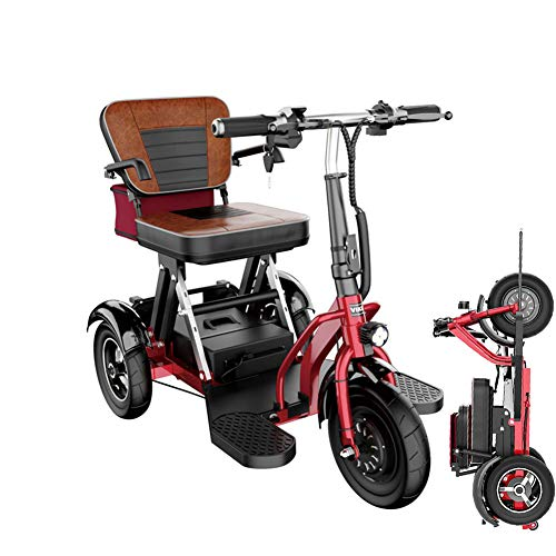 Folding Electric 3 Wheel Mobility Scooter Portable Tricycle Recreational Power Scooter for Adults/Elderly/Disabled Long Range Driving and Travel,20AH