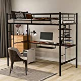 Metal Loft Bed Twin Size with Desk and Bookcase, Loft Bed Full-Length Guardrail, No Box Spring Needed
