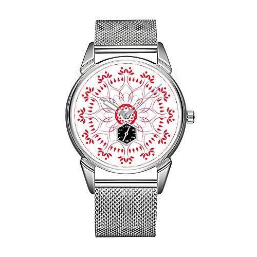 Reloj de hombre de acero inoxidable plateado resistente al agua reloj de la marca Lotus