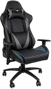 Foxmey Gaming Chair, Game Chair, Ergonomic Computer Gaming Chair Racing High Back PU Leather Adjustable Angle with Headrest L