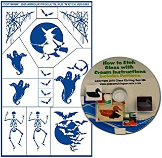 Skeleton Glass Etching Stencils for Halloween with Bats & Witch in Moon, Ghosts, Spider Web + Free How to Etch CD