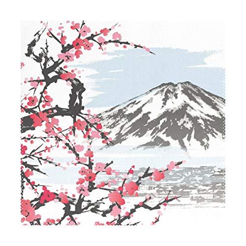 XiangHeFu Placemats Art Pattern Mountain Fuji Cherry Blossoms 12x12 Pulgadas Juego de 4 Antideslizantes Resistentes al Calor para Mesa de Comedor