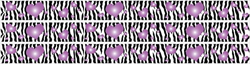 Zebra Print and Purple 3D Hearts Wall Sticker Border Decals