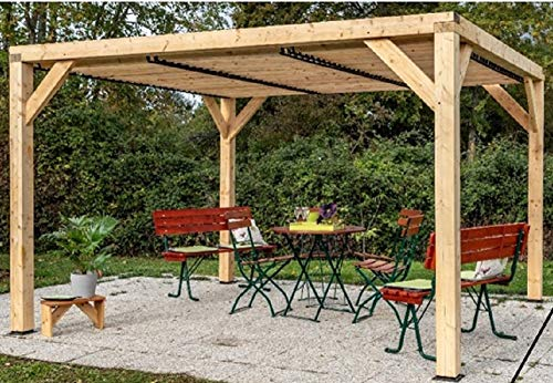 Pergola gazebo Foresta in legno lamellare, tetto frangivista con veneziane mobili , dimensioni 339x312X217H