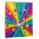 Cortina de baño, Arcoiris Abstracto y Rayos de Confeti de Estrellas Rayas celebrando Happy Times Set de Cortinas de baño con Ganchos