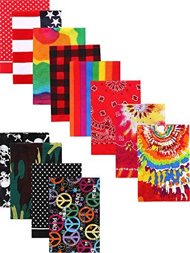 SATINIOR Dozen of Cotton Fine Novelty Print Unisex Tie Dye Bandanas Headwraps for Hippie (Style A),55 x 55 cm/ 22 x 22 inch