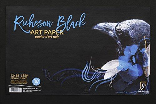 Jack Richeson 135# Art Paper - Papel para Manualidades (30,5 x 45,7 cm, 50 Hojas), Color Negro