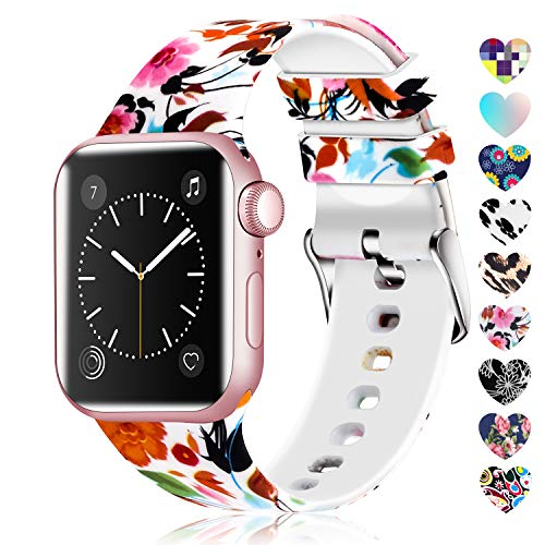 Lwsengme Compatible with Apple Watch Band 38mm 40mm 42mm 44mm, Soft Silicone Replacment Sport Bands Compatible with iWatch Series 5,Series 4,Series 3,Series 2,Series 1 (Flower-17, 42MM/44MM)