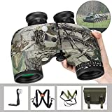 BNISE 10x50 Binoculars for Adults Marine Hunting Rangefinder Built-in Compass with Harness Strap