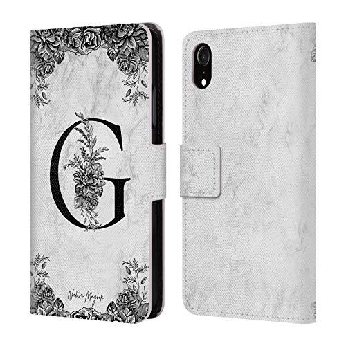 Head Case Designs Oficial Nature Magick Letra G B&W Mármol Monograma 1 Carcasa de Cuero Tipo Libro Compatible con Apple iPhone XR