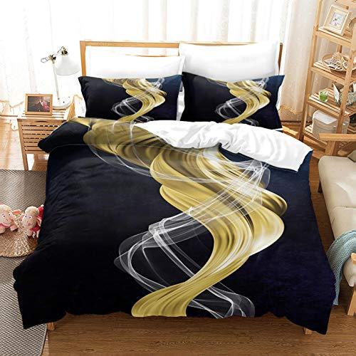 WEDSGTV Funda nórdica de algodón 100% poliéster Suave Arte de Textura Dorada 61x78.7 Inch Juego de Cama con Estampado 3D Funda nórdica Funda de Almohada Twin Queen King Size
