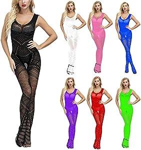 Amaeen Ropa Interior Mujer Sexy para Señoras Atractivas de Encaje Sujetador Fishnet Babydoll Lencería de Inalámbrico Tanga Conjunto Ropa Interior Pijamas de Temptation