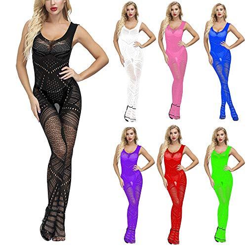 Btruely Medias Largas Mujer Bodis Sexy Abiertas Vestir Encaje Hueco de Noche Babydoll Bragas Medias Disfraz de Pole Dance