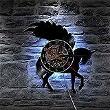 ROMK Relojes de Pared Unicornio con Purpurina Arte de Pared Unicornio Silueta Reloj de...