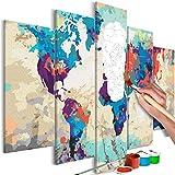 murando - Malen nach Zahlen Weltkarte 100x50 cm 5 TLG Malset mit Holzrahmen auf Leinwand für Erwachsene Kinder Gemälde Handgemalt Kit DIY Geschenk Dekoration n-A-0231-d-m