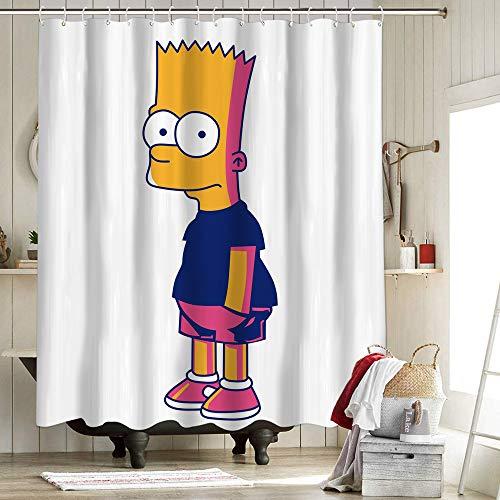 Sitcom Cartoon Bart Simpson Duschvorhang für Badezimmer Polyestergewebe Duschvorhang-Set The Simpsons Cartoon TV Thema Homer Bart Simpson Hose 183 x 183 cm