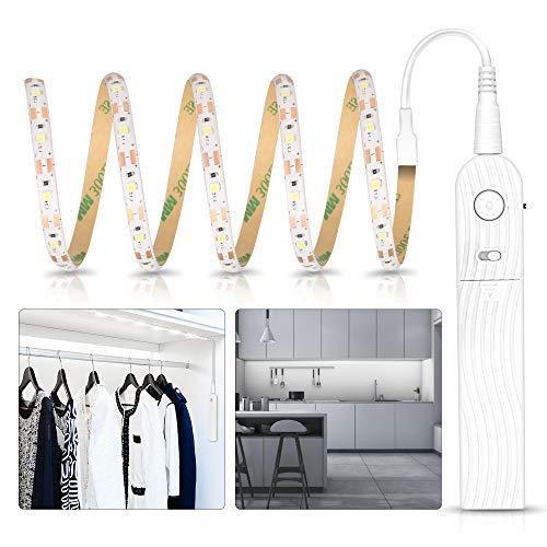 Tira de Luces LED con Sensor de Movimiento, Tira Luz Cuerda USB/Pilas Recargable, 3500K Blanco Cálido Luz Armario Luz LED Nocturna para Habitaciones de Niños, Dormitorios, Escaleras, Baño, Pasillo