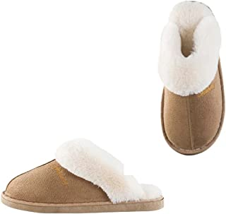 Womens Slipper Faux Fur Fluffy Slip-On House Suede Fur Lined/Anti-Skid Sole,Indoor & Outdoor