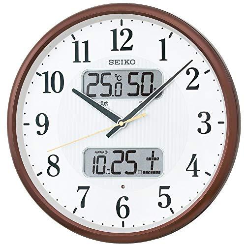 セイコークロック掛け時計01:茶メタリック01:直径35cm電波アナログカレンダー温度湿度表示BC405B