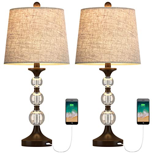 Oneach USB Table Lamps Crystal for Living Room Set of 2 Modern Bedside Lamp with Clear Stacked Ball Night Light Lamp for Bedroom Accent Oil-Rubbed Bronze