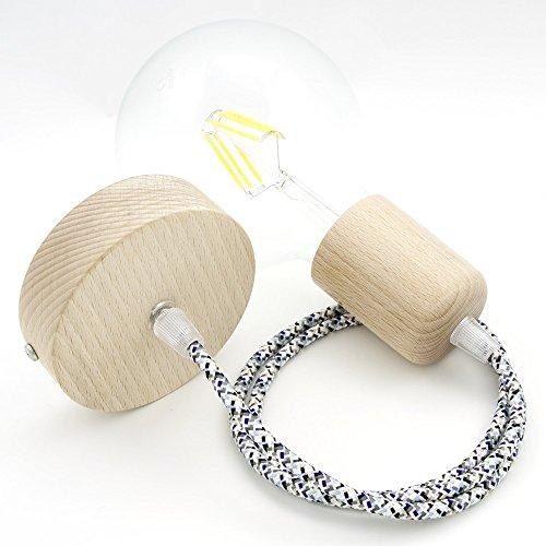 CD Cables-Lampada ophanging cilinder hout slinger gekleurd textielkabel pixels gietijzer 2 meter