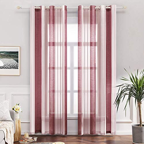 MIULEE Vorhang Voile Transparente Streifen Gardine aus Voile mit Ösen Schlaufenschal Ösenschals Halbtransparent Fensterschal für Dekoration Wohnzimmer Schlafzimmer 2er Set 140x225 cm Stripe Rot