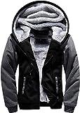 GEEK LIGHTING Men's Zip Up Fleece Hoodies Winter Heavyweight Sherpa Lined Thermal Jackets (Black/Gray, XX-Large)
