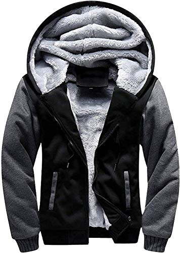 GEEK LIGHTING Hoodies for Men Heavyweight Fleece Sweatshirt - Zip Up Winter Sherpa Lined Thermal...