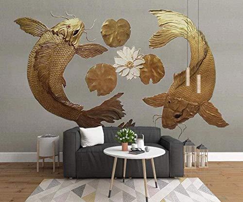 Papel pintado Murales 3D Lotus Carp Relief Mural de pared para sala de estar y dormitorio Decoración-300 cm x 210 cm (largo x alto).