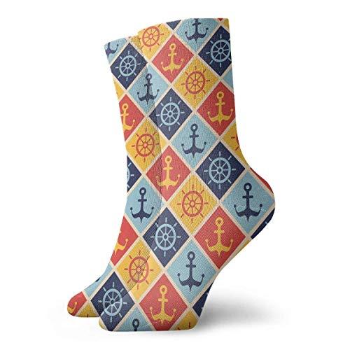 Tammy Jear Volantes y anclas Hombres Calcetines deportivos casuales de 30 cm para deportistas atléticos
