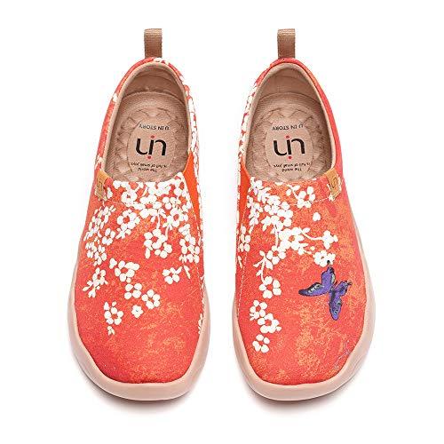 UIN Women s Walking Flats Travel Walking Slip On Loafers Lightweight Comfortable Casual Painted Canvas Sneakers Sakura (41)