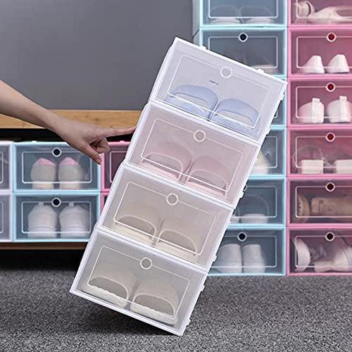Caja de zapatos plegable de plástico transparente, organizador de zapatos para hombre y mujer, cajón plegable de plástico con tapa (color blanco)