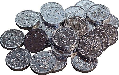Zilveren melkchocolade 5p munten (pak van 25)