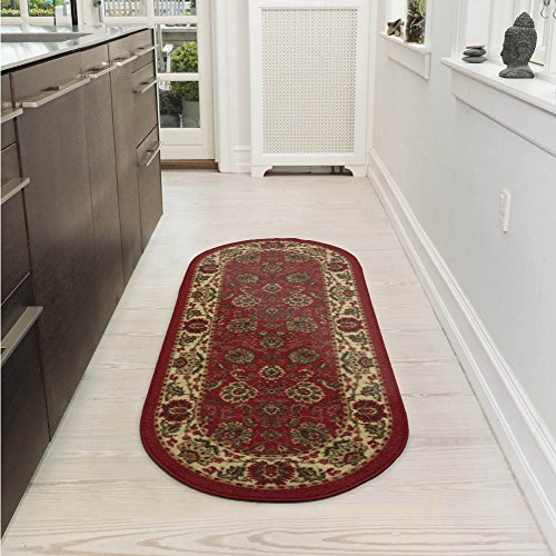 Ottomanson Ottohome Collection Traditional Persian Oriental Floral Design Non-Slip Rubber Backing Modern Area Rug, 2' X 5' Oval, Dark Red
