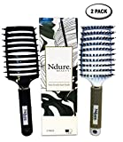 Curved Vented Boar Bristle Styling Hair Brush, Single White Brush Anti-static Detangler, Wet or Dry Use, Fast Blow Drying, Use on Long or Short Hair. (2 Pack, White & Black)