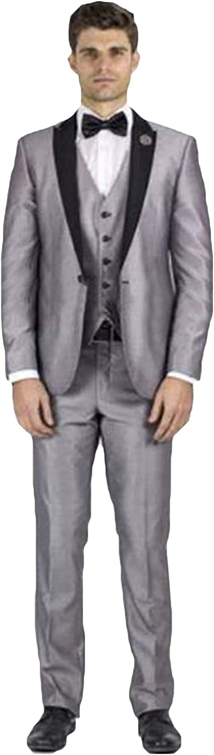 QZI Men's One Button Suit 3 Piece Peak Jacket Slim San Diego Mall 67% OFF of fixed price Fit Lapel Wai
