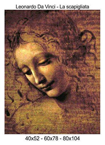 Social Crazy Stampa in Tela Canvas 100% qualità Italia - Leonardo da Vinci - La scapigliata Effetto Dipinto Idea Regalo Casa Quadro Cucina Stanza da Letto Soggiorno (40x52)