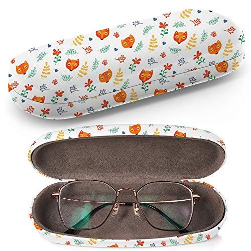 Hardcase Brillenetui Sonnenbrillenetui Brillenbox Kunststof Clamshell-Art-Brillen-Fall mit Brille-Reinigungstuch (Foxes Animals)
