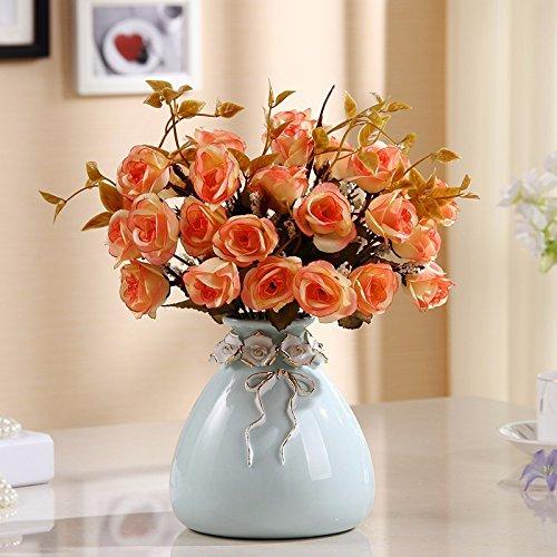 LSRHT Flores Artificiales Vasijas de cerámica Moderno Rosa Amarillo Romántico Bouquet Ideal para Decoracion de casa habitacion Jardin Fiesta de Boda Mostrando