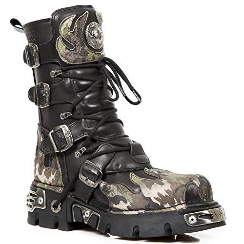 New Rock Rocker Newrock 591 S15 Schwarz Camouflage Tarnung Tarnflammen Flamme Motorradfahrer Biker-Unisex-Stiefel metallischer Reaktor Goth Emo Punk Biker Unisex Boots (11 UK / 45 EU)