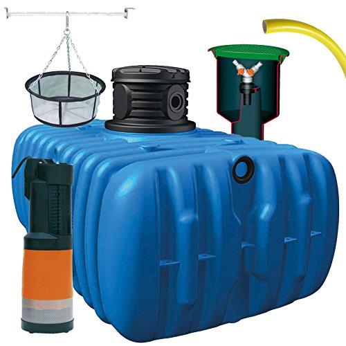 atout Regenwassertank Flat S Garten-Comfort Flachtank-Paket Flat Flachtank 1500 L inkl. Schachtverlängerung (Flat Komplettpaket Garten-Comfort, 3000 L)