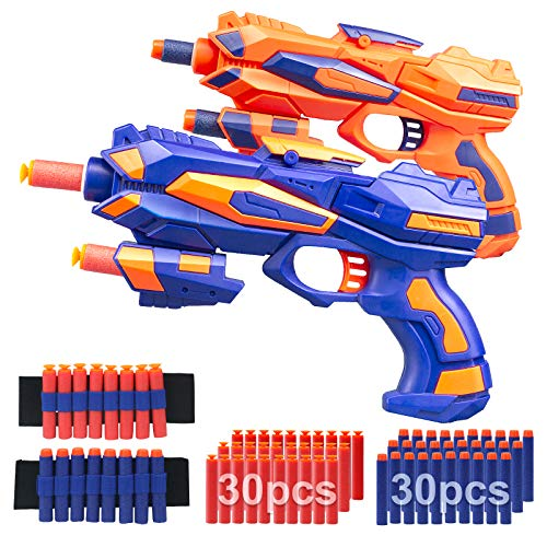 AHIKIDS 2 Pack Blaster Guns Boys Toy: Foam Bullet Gun Toys with 2 Foam Dart Wrist Bands amp 60 Refill Soft Foam Darts Hand Gun for NerfHand Gun Toys Birthday Gifts for 3 4 5 6 7 Years Kids